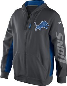 Detroit Lions Anthracite Nike Sideline KO Full-Zip Hooded Sweatshirt