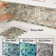 """Our easy-to-use mosaic tile backsplash offers all of the benefits of a traditional porcelain tile, but with none of the mess, headaches or tedious installation. Just peel and stick these 10"""" x 10"""" squares on any clean wall surface for a super stylish, seamless finished product that is both beautiful and functional. DIY décor has never been so easy. Our set of six square sheets will allow you to update your home with modern, neutral colors that will complement any space. Rustic Bathroom Vanities, Diy Bathroom Decor, Bathroom Sets, Small Bathroom, Bathroom Cabinets, Bathrooms, Mosaic Backsplash, Kitchen Backsplash Diy, Camper Makeover"""
