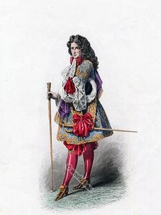 Member of the French Court. Louis XIV fashion. 17th century French costumes. Baroque Clothing