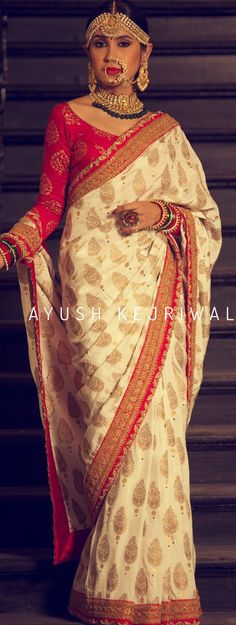 Bridal Saree by Ayush Kejriwal For purchase enquires email me at ayushk - MyStyles Indian Bridal Wear, Indian Wedding Outfits, Indian Wear, Indian Outfits, Sari Blouse Designs, Saree Blouse Patterns, Bollywood, Ethnic Outfits, Elegant Saree