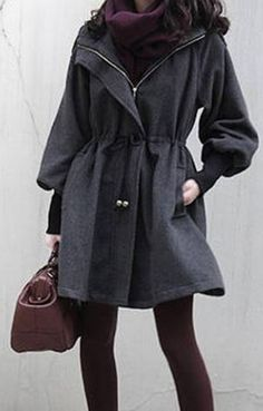 Looks I LOVE! Grey Casual Style Hooded Draw Cord Solid Color Long Sleeve Fall Coat For Women