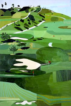 Jonas Wood, Scholl Canyon. Potential background for a decoupage golf character as a card topper.