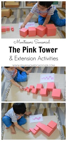 Pink tower activities and extensions sensorial Montessori Sensorial Activity The Pink Tower Montessori Baby, Montessori Homeschool, Montessori Classroom, Preschool Curriculum, Montessori Activities, Preschool Learning, Infant Activities, Activities For Kids, Montessori Bedroom