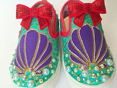 Listing shows custom little mermaid inspired canvas shoes. (Princess mermaid Hand painted specialty shoe art!) - makes great unique gifts! This listing is for the customization of generic slip on shoes. If you would like a different style shoe designed, please find the style you prefer in my other listings. (PLEASE NOTE: embellishments and shoe clips that are in some of the images, are not included. Those are an additional charge. -Brand: Generic slip on shoes -Listing shows this specific…