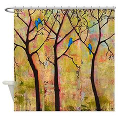 Bathroom Rugs Ideas | CafePress  Bluebirds in Trees Shower Curtain  Decorative Fabric Shower Curtain ** Read more reviews of the product by visiting the link on the image. Note:It is Affiliate Link to Amazon. #blue