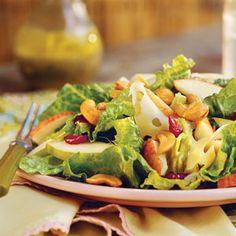Salade poire, pomme et sauce citron-pavot.