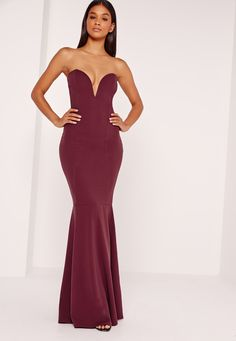 look ultimately flawless in this maxi dress. in a sexy shade of burgundy, bandeau style and a fishtail finish, you'll be looking smokingly elegant. style with barely there heels and a delicate clutch for all round evening vibes. make sure t...