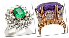Vintage Natural Emerald & Diamond Cluster Cocktail Ring (left) and Victorian 'Tri-Gold' Amethyst Diamond Antique Cocktail Ring (right)