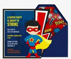 Birthday For Kids Free Online Invitations Invites Superhero