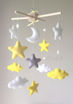 Baby mobile cloud mobile moon clouds mobile yellow and Baby Bedroom, Baby Room Decor, Nursery Decor, Baby Crafts, Felt Crafts, Diy And Crafts, Felt Mobile, Cloud Mobile, Baby Crib Mobile