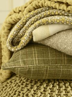 Chartruse and olive textiles Olive Green Color, Green Colors, Next At Home, Back Home, Autumn Interior, Vert Olive, Textiles, Colour Board, Shades Of Yellow