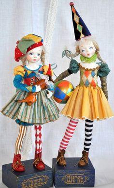 Clay Dolls, Art Dolls, Fabric Dolls, Paper Dolls, Cute Clown, Beanie Boos, Maquillage Halloween, Doll Maker, Stuffed Toys Patterns