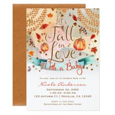 Let's Fall in Love Baby Shower Autumn Leaves Card - rustic gifts ideas customize personalize
