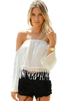 Women's White Off the Shoulder Strapless Blouse