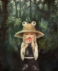 Moriya Suwako~Touhou by Wataichi Meko Monochrome Color, Monochrome Fashion, 3d Background, Anime People, Character Illustration, Dark Colors, Artist At Work, Cool Girl, Weird