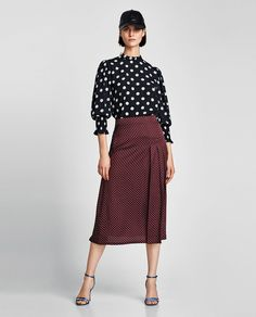 Image 1 of POLKA DOT RUFFLED BLOUSE from Zara