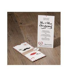 Faire-part de mariage Mr & Mrs original dans une enveloppe de voyage