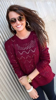 Burgundy Baby Sweater:)