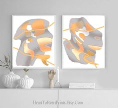 Minimalist Abstract Set of 2 Prints Abstract Painting Printable Wall Art Gray Orange Yellow Modern Contemporary Posters Downloadable Art Country Wall Art, Rustic Wall Art, Wall Art Decor, Grey Wall Art, Pink Wall Art, Modern Art Prints, Wall Art Prints, Dining Room Wall Art, Blue Artwork