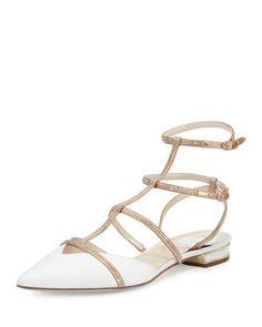 Crystal-Embellished+Leather+Cage+Flat,+White+by+Rene+Caovilla+at+Neiman+Marcus.