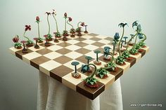 Origami Bonsai chess set features pieces crafted using recycled paper