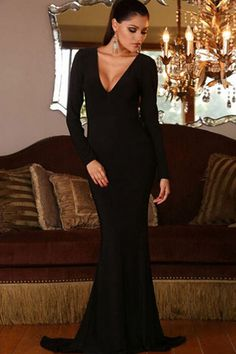 Black V Neck Long Sleeve Open Back Mermaid Dress #Black #Dress #maykool