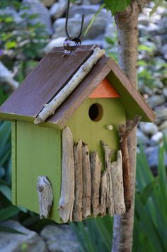 Birdhouse Handmade Woodworking Rustic Wood Hand Painted Outdoor Birds House Habitat Yard Art Gardening Lawn Ornament - Free Shipping via Etsy