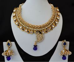 Indian Bridal Bollywood Peacock Necklace Golden Stone Jewelry Eardrop Swam 465 #Unbranded
