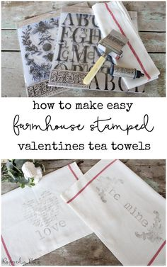 Using some Ikea Tea Towels and Iron Orchid Design Decor Stamps I'm sharing How to Make Easy Farmhouse Stamped Valentines Tea Towels Valentine Day Crafts, Valentine Decorations, Printable Valentine, Homemade Valentines, Valentine Wreath, Valentine Box, Valentine Ideas, Crafts To Make, Easy Crafts