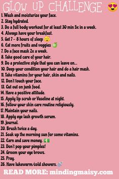 Below are 30 random tips for a glow up. The tips aren't really specific and it's not a daily challenge; they are just tips you need to incorporate into your normal routine if you haven't already. Beauty Routine Checklist, Beauty Routines, Beauty Tips For Glowing Skin, Health And Beauty Tips, Beauty Skin, Beauty Essentials, Back To School Glo Up, The Glow Up, Glow Up Tips
