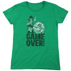 Green Lantern Game Over Kelly Green Womens T-Shirt