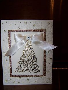 Gold card made with snow swirled
