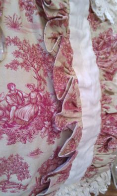 Creamy Tan and Red Toile Girly Bag With Vintage by shabbychatue,
