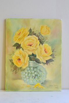 Oil on Canvas Floral Painting Yellow Roses