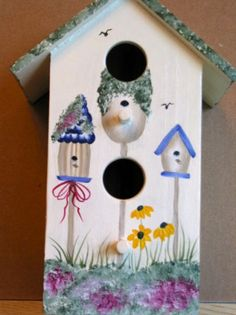 Birdhouses.  One Stroke Painting by Susan Earl.