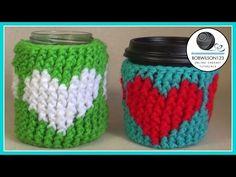 60 ideas for crochet heart pattern free cup cozies Crochet Pillow Patterns Free, Crochet Blanket Edging, Crochet Shrug Pattern, Knitting Patterns, Crochet Kids Scarf, Crochet Mug Cozy, Crochet Dishcloths, Do It Yourself Videos, Plastic Bag Crochet