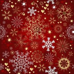 Stock vector of 'Christmas red seamless pattern with gold and white snowflakes vector' Christmas Fabric, Noel Christmas, Christmas Images, Christmas Wrapping, Winter Christmas, Vintage Christmas, Christmas Crafts, Christmas Scrapbook Paper, Christmas Snowflakes