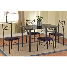 5-Piece Metal Dining Set, Black