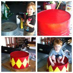 Circus party. Old wash basin/tub painted! It awaits a ring master!
