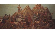 """ΦΩΤΗΣ ΚΟΝΤΟΓΛΟΥ: """"Ο Δοξαπατρής αγωνίζεται εις το Αράκλοβον"""" """"Επιγραφή διά τήν αίθουσαν τού Δημαρχείου τήν οποίαν εζωγράφισα. Η παρούσα ζωγραφία εφιλοτεχνήθη όπως εν σχήμασι γραπτοίς διαμένη πρό τών ομμάτων εις αιώνα ο κύκλος τής ελληνικής φυλής, από τών πρώτων αυτής προπατόρων μέχρι τών καθ' ημάς…Εζωγραφήθη δέ μετά πόθου καί φιλοτιμίας πολλής φαντασία καί χειρί Φωτίου Κόντογλου τού εκ Κυδωνιών τής Μικράς Ασίας. 1940"""" Painting, Art, Art Background, Painting Art, Kunst, Paintings, Performing Arts, Painted Canvas, Drawings"""