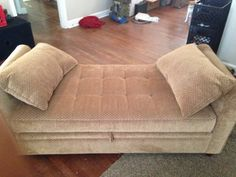 Cushioned bench with pillows with storage space inside - $75 (Memphis)