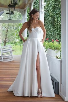 Mikado Strapless Sweetheart A-line Gown Sweetheart Gowns, Sweetheart Bridal, Luxury Wedding Dress, Dream Wedding Dresses, Wedding Gowns, Elegant Wedding, Justin Alexander Bridal, Sincerity Bridal, Sheath Wedding Gown