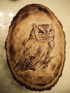 Owl oval wood-burning. $50.00, via Etsy.