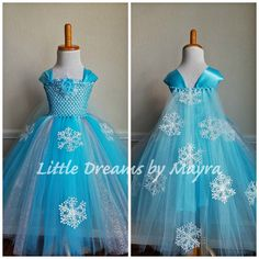 Welcome to Little dreams by Mayra This dress is a more affordable version of my original dress but it is just gorgeous, great quality and very pretty! Dress has two layers of turquoise and aqua tulle with 5 strands of silver glitter tulle and 10 plastic snowflakes around it,