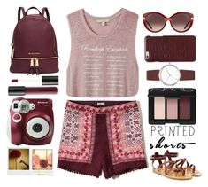 """""""printed burgundy shorts - Top Set 7/25/16"""" by juliehalloran ❤ liked on Polyvore featuring Express, Hollister Co., Michael Kors, K. Jacques, Salvatore Ferragamo, Maison Margiela, DKNY, Bare Escentuals, NARS Cosmetics and Polaroid"""