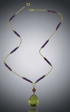 Green Quartz, Garnet and Amethyst Necklace: Judy Bliss: Gold & Stone Necklace - Artful Home