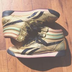 a5d2b98c334e Reebok - Freestyle Hightop Sneakers These Special Edition Gold   Multi-Colored Hightop Kicks would