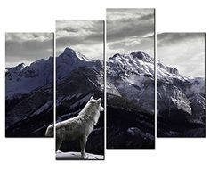 SmartWallArt - 4 Panel Wall Art Cool Tone Painting A White Wolf Looking At The Distant In Mountains Picture On Canvas Stretched By Wooden frames For Living Room Decor Or As A Gift SmartWallArt@ http://www.amazon.com/dp/B012ZQ1VMW/ref=cm_sw_r_pi_dp_q38rwb1FRV5BE