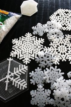 DIY Hama beads snowflakes. Would be fun to fill a tree with these. #hama #perler