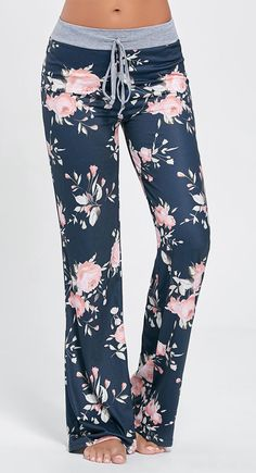 Floral Long Drawstring Waist Night Pants - L Polyester Floral Comfy Pants, Lounge Pants, Lounge Wear, Sleep Pants, Pj Pants, Comfy Clothes, Pretty Outfits, Stylish Outfits, Cute Outfits